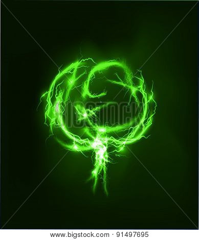 Green tree, Abstract background made of Electric lighting effect