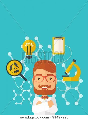 A good looking intelligent man thinks about medical study. A Contemporary style with pastel palette, soft green tinted background. Vector flat design illustration. Vertical layout with text space on