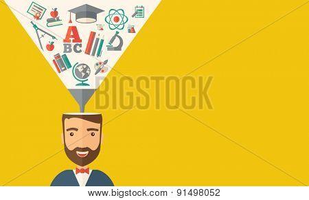 A man with icons and student ideas. A Contemporary style with pastel palette, dark yellow tinted background. Vector flat design illustration. Horizontal layout with text space in right side.