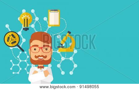 A good looking intelligent man thinks about medical study. A Contemporary style with pastel palette, soft green tinted background. Vector flat design illustration. Horizontal layout with text space in