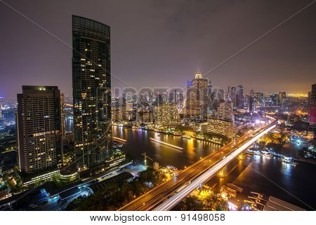 Landscape of River in Bangkok city  at night, bird view