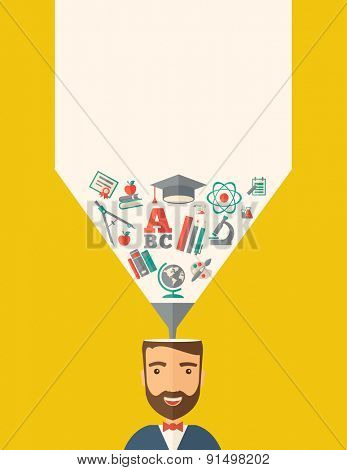 A man with icons and student ideas. A Contemporary style with pastel palette, dark yellow tinted background. Vector flat design illustration. Vertical layout with text space on top part.