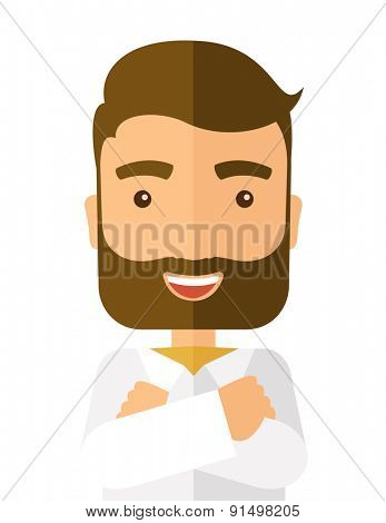 A happy man with cross arms. A Contemporary style. Vector flat design illustration isolated white background. Vertical layout