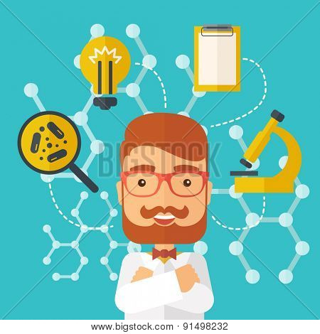 A good looking intelligent man thinks about medical study. A Contemporary style with pastel palette, soft green tinted background. Vector flat design illustration. Square layout.