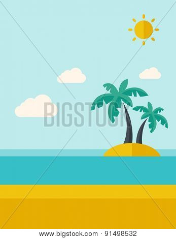 A tropical sea island with palm trees and sun. A Contemporary style with pastel palette, soft blue tinted background with desaturated clouds. Vector flat design illustration. Vertical layout.