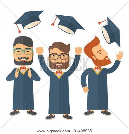 A smiling three men throwing graduation cap in the air. A Contemporary style. Vector flat design illustration isolated white background. Square layout