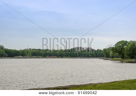 The Banks Of The Upper Lake In Kaliningrad.