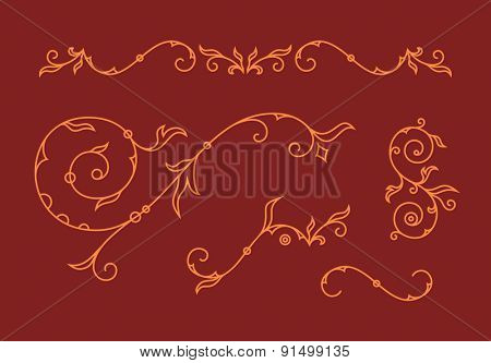 Print template. Decoration elements, floral ornaments and ampersands for wedding invitation card. Vector illustration