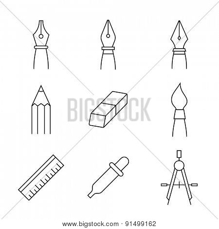Designer tools. Vector icons of drawing and painting tools