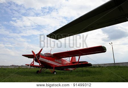 Red firefighter biplane