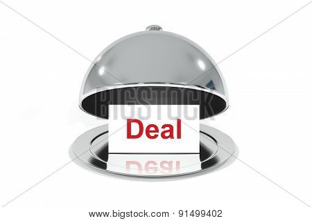 Opened Silver Cloche With White Sign Deal