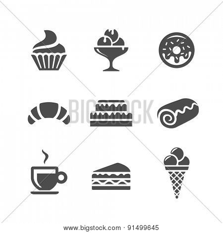 Cafe and confectionery vector icons. Sweet baked goods and desserts
