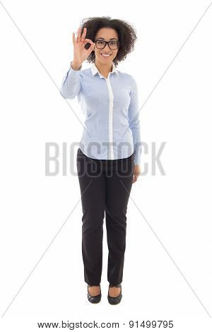 Happy African American Business Woman Showing Ok Sign Isolated On White
