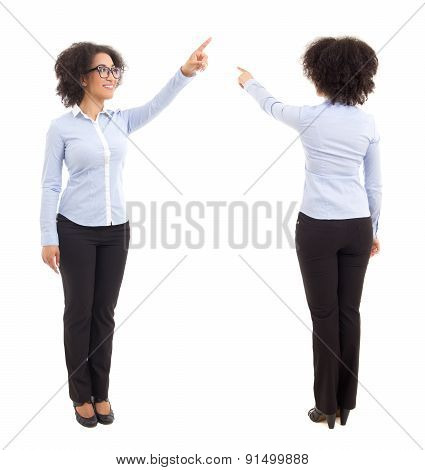 Front And Back View Of African American Business Woman Pointing At Something Isolated On White