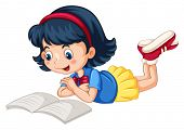 pic of storybook  - Closeup happy girl reading book alone - JPG