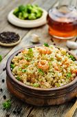pic of quinoa  - quinoa with shrimp and parsley on a dark wood background - JPG