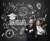 foto of degree  - Young students are pondering over the business degree - JPG