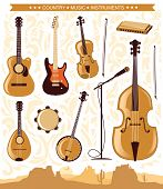 image of musical instrument string  - Set of Country music instruments - JPG