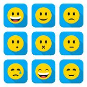 stock photo of long tongue  - Character Emotions Vector App Icons Set Isolated over White - JPG
