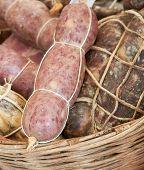 stock photo of genova  - made in Italy delicious italian sausages on ligurian market Genova Europe - JPG