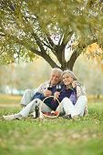 stock photo of copulation  - Portrait of amusing old couple on picnic - JPG