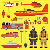 stock photo of fire brigade  - Firefighters vehicles equipment and fire brigade collection set - JPG
