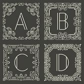 image of initials  - Set of vector floral and geometric monogram logos with capital letter on dark gray background - JPG