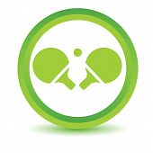 image of ping pong  - Green round volumetric icon with image of ping - JPG