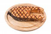 picture of salmon steak  - Grilled salmon steak on platter - JPG