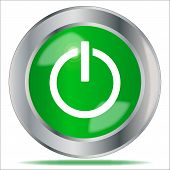 picture of start over  - A large green engine start symbol button over a white background - JPG