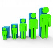 stock photo of population  - Population Increase Showing Togetherness Improvement And Raise - JPG