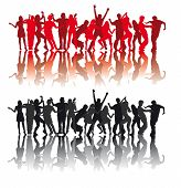 picture of exaltation  - silhouettes of people dancing modern dances on a white background - JPG
