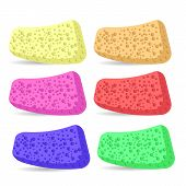 foto of bath sponge  - Set of Colorful Bath Sponges  Isolated on White Background - JPG