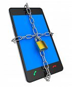 stock photo of lock  - Locked Phone Representing Chain Unauthorized And Private - JPG