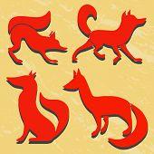 stock photo of arctic fox  - Set of red fox silhouettes - JPG