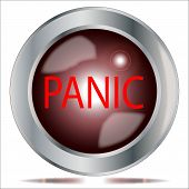 stock photo of panic  - A large panic button over a white background - JPG