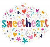 stock photo of sweethearts  - sweetheart typography lettering decorative text card design - JPG