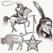 picture of cowboys  - Cowboy vector set west cowboy Indian and sheriff star - JPG