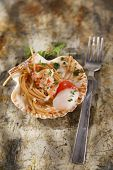 picture of scallops  - First dish with spaghetti integral to scallops and parsley - JPG