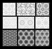 picture of trapezoid  - Set of black and white geometric seamless pattern - JPG