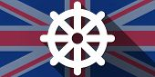 stock photo of dharma  - Illustration of an UK flag icon with a dharma chakra sign - JPG