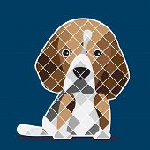 image of puppy beagle  - Graphic of Beagle puppy with navy blue background - JPG