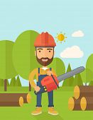 pic of man chainsaw  - Lumberjack with hard hat as protection cuts a tree by chainsaw under the heat of the sun - JPG