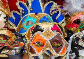stock photo of venice carnival  - Pile of traditional Venetian carnival masks - JPG