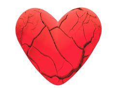 pic of broken-heart  - cracked earth broken heart concept image over white - JPG