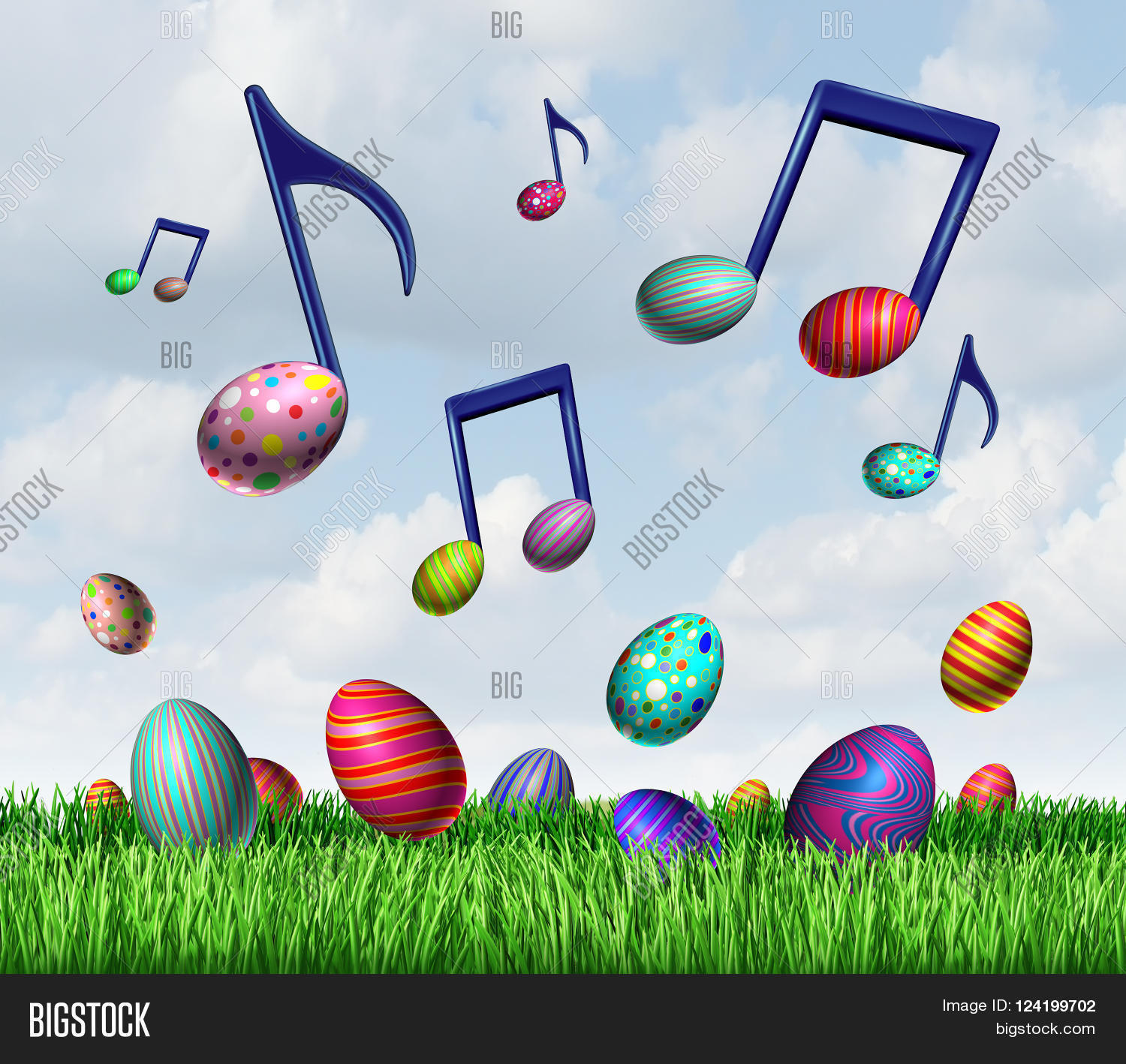 Easter spring music symbol group image photo bigstock easter spring music symbol as a group of easter eggs in the grass and flying in buycottarizona