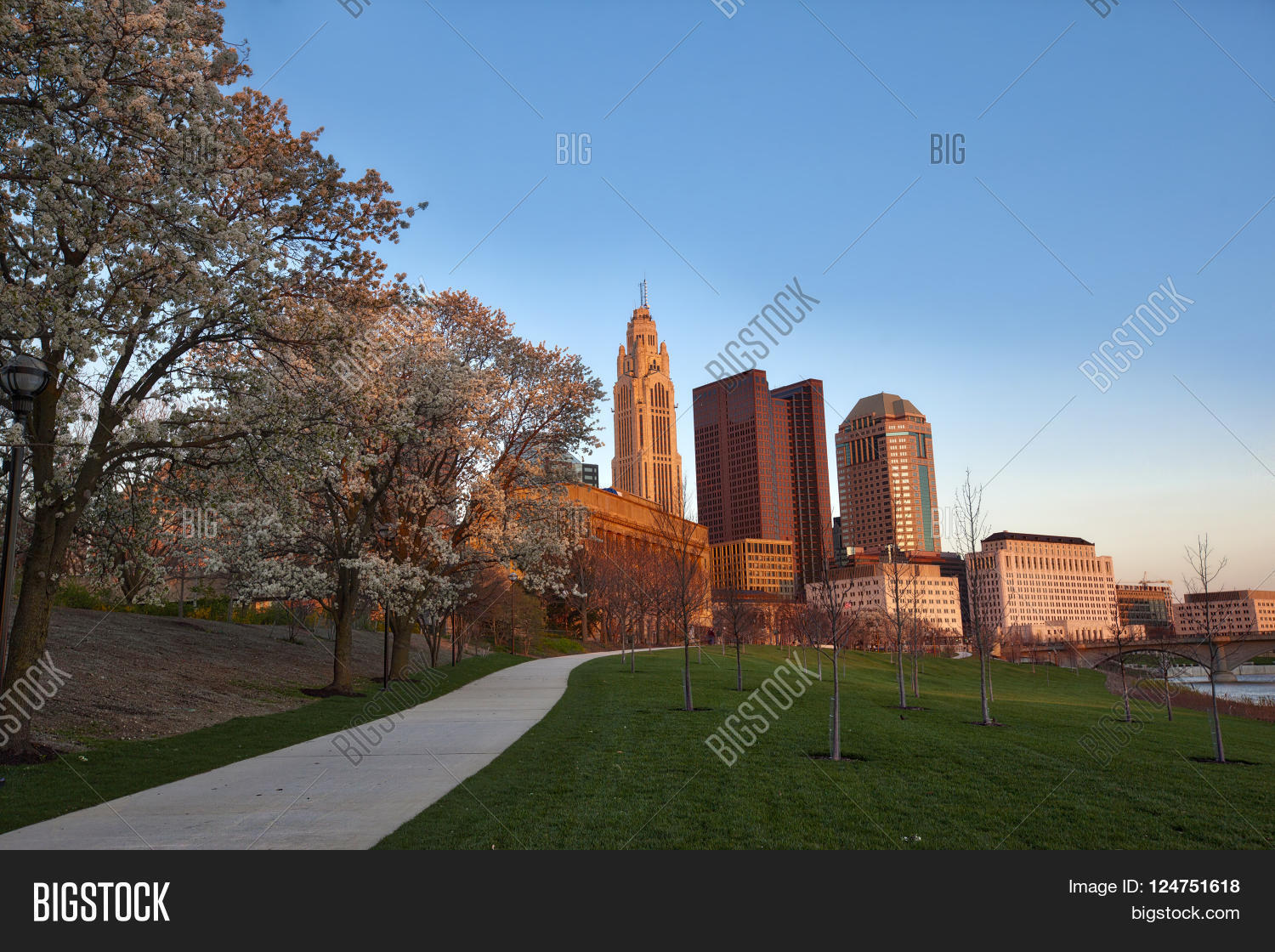 Spring In Columbus Ohio During The Golden Hour Stock