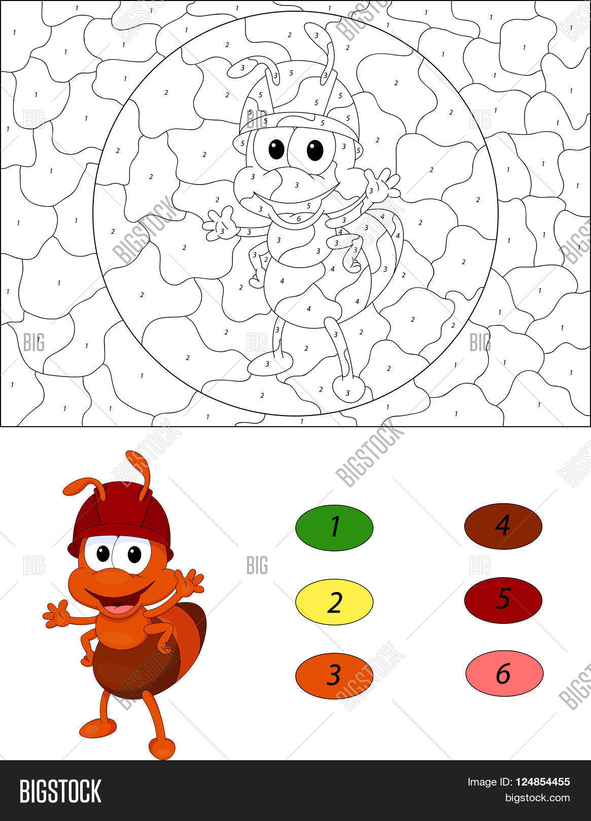 Game color by numbers - Cartoon Ant Color By Number Educational Game For Kids