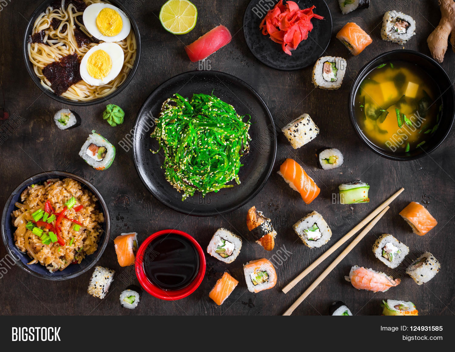 Table served sushi traditional image photo bigstock for Authentic japanese cuisine