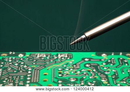 Workplace for installation and repair of circuit boards.